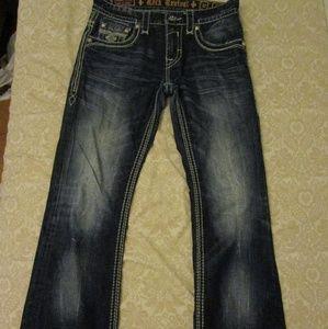 Rock Revival Mens Jeans Daren Slim Boot Buckle 33
